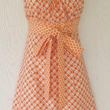 Orange Halter Apron / Vintage Feedsack Inspired / Retro Style / Womens Full Apron / Empire Waist