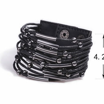 Punk beaded leather bracelet = 1932574852