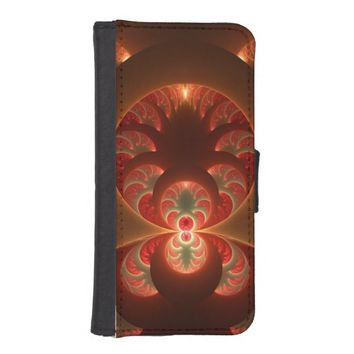 Luminous abstract modern orange red Fractal iPhone SE/5/5s Wallet