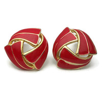 Vintage Red Enamel & Gold Tone Clip On Earrings - 1 inch Diameter Signed AD Red and Gold Clip Earrings - Vintage Jewelry
