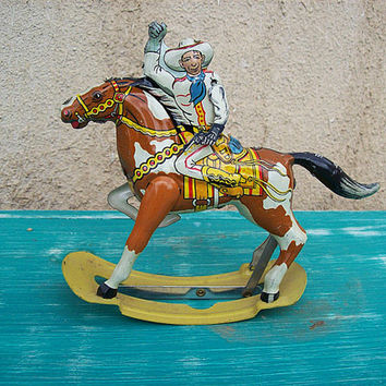 vintage Marx tin cowboy 1950's rocking toy retro litho rockabilly western kitsch