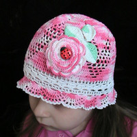 Crochet Girls Hat Flowers Hot Pink White Red Green by MILAVIKIDS