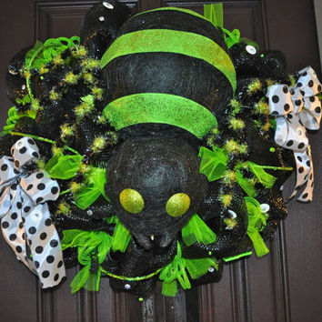 Halloween Wreath, Deco Mesh Wreath, Mesh Wreath, Spider Wreath, Black Wreath, OOAK Wreath, Spider