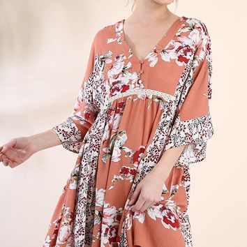 Coral Floral Bell Sleeve Button Up Dress