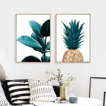 1pcs canvas print painting nordic Pineapple Wall Posters Cuadros Decoracion Plant Art(no frame no stretch)
