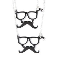 Best Friends Glasses and Mustaches Pendant Necklaces | Claire's