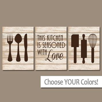 KITCHEN Wall Art, CANVAS or Prints, Kitchen Wall Decor, Utensils Quote Decor, Seasoned with Love, Set of 3 Housewarming Gift, Home Decor