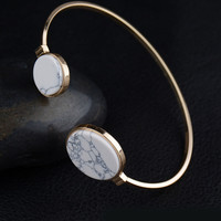 Casual Retro Marble Round All-Match Adjustable Size Bracelet