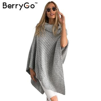 BerryGo Vintage cotton turtleneck sweater women knitting poncho irregular pullover streetwear Winter sleeveless sweater jumper