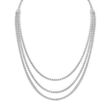 Three Layer Strand Cubic Zirconia Drop Chain Necklace