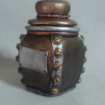 Steampunk mini stash jar, industrial polymer clay over glass container