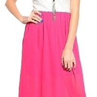 Independent Womens Strapless White Lace Chiffon Open Back Maxi Dress Neon Pink