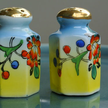 Art Deco Salt & Pepper Set - Hand-Painted Porcelain - Gold Top Lustreware - Flowers and Berries