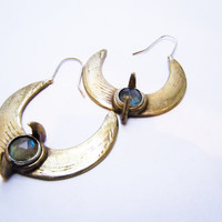 Keeper of the Crescent Moon bronze and labradorite hoop earrings / psychic jewelry by Invisigle