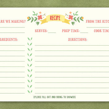 Floral Bridal Shower Recipe Card 4x6""