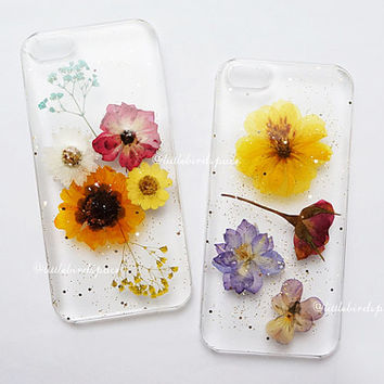 Dried Pressed Flower Art Real Glitter Clear Hard Plastic Snap-back Phone Back Case For iPhone 4/4S/5/5S/5C