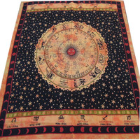 MyNeLo Labhanshi - Divine Ethnic Indian Wall hanging Astrology Sun Moon Tapestry