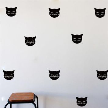 Cartoon Cat Wall Stickers Baby Nursery Lovely Cat Wall Decals Kids Room Wall Cut Vinyl Easy Removable Mural Silhouette Decor