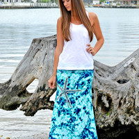 Starfish MAXI tie dye blue and aqua skirt show off the mermaid in you with this starfish maxi skirt