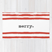 red stripes-merry Rug by Sylvia Cook Photography