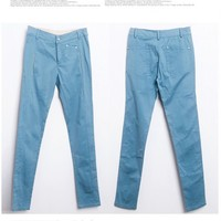Causal Korean Style Sweet Color Zipper Long Pants 4 Colors