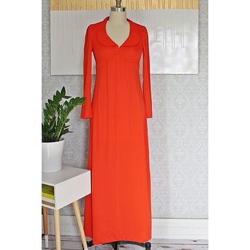 Vintage Tomato Red  Keyhole Back Maxi Dress