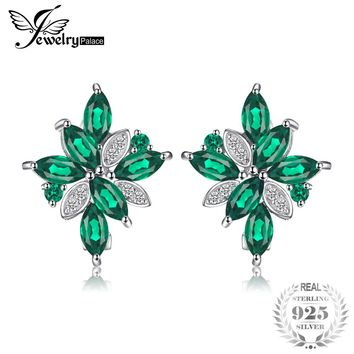 JewelryPalace 2.28ct Created Emerald Clip Earrings 925 Solid Sterling Silver Brand New Vintage Charm Fine Jewelry Gift For Women
