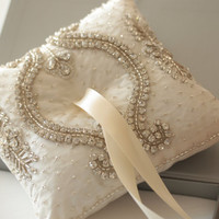 Wedding Ring Pillows, Unique beaded ring pillow -  NEVIO Pillow (Sold Out)