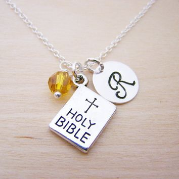 Holy Bible Charm Necklace -  Swarovski Birthstone Initial Personalized Sterling Silver Necklace / Gift for Her - Christian Necklace