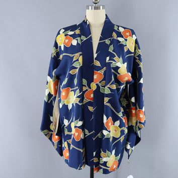 Vintage 1960s Silk Kimono Haori Cardigan Jacket / Blue & Orange Floral Print