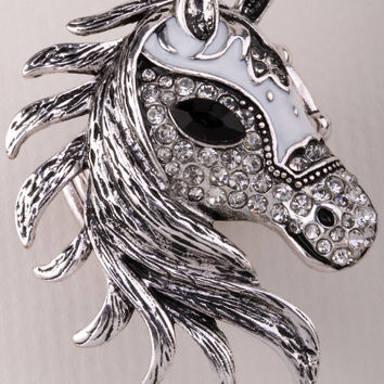 Resizable Horse stretch ring women bling scarf fashion jewelry W crystal  & tone 9  dropshipping