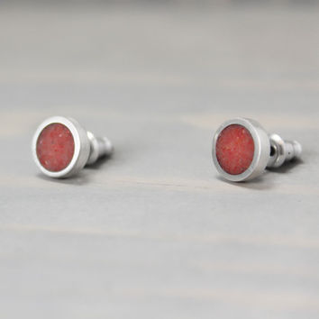 Red Coral Earrings, Silver Coral Earrings, Coral Jewelry,  Silver Earrings, Pewter Earrings, Personalized Earrings