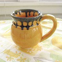 Halloween mug Autumn Hand Painted Coffee Tea Stylish Ceramic cup, Yellow amazing Handmade Pottery, Orange modern Home Decor, Kitchen gift