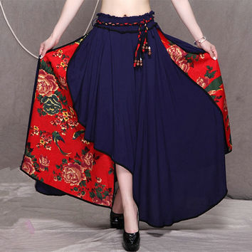 Fashion Women's Skirt New Vintage Style Clothes High Waist Patchwork Irregular Ankle Length Skirts 2017 Spring Autumn