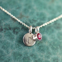 Wedzu: Tiny Initial and Birthstone Necklace from Anne Kiel Jewelry