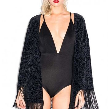 Oh My Love Crash and Burnout Velvet Fringe Kimono