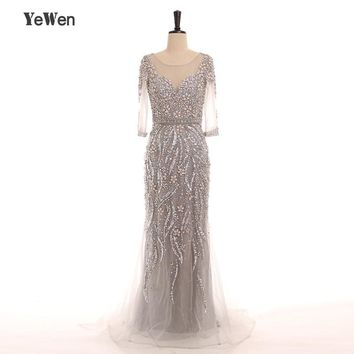 YeWen Sexy Grey Crystal Mermaid Evening Dresses 2018 Long Sleeves Dubai Robe De Soiree Formal Party Gown saudi arabia prom dress