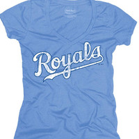 KC Royals Royals Light Blue Womens Tri-Blend Wordmark Short Sleeve V-Neck