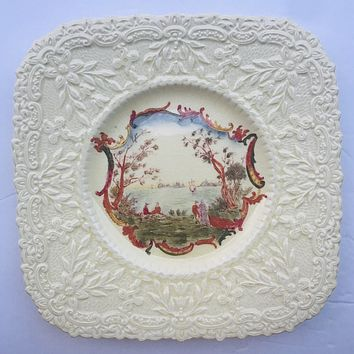 Royal Cauldon Square Brown Transferware Plate Embossed border picnic lake scenery