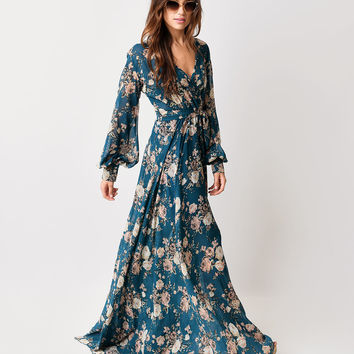 1970s Style Teal Rose Floral Long Sleeve Maxi Dress