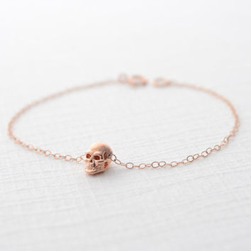 Rose gold skull bracelet  tiny skull bracelet in by OliveYewJewels