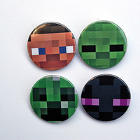 "Minecraft Character Faces 4x1.5"" pinback button badge set from Stickerama"