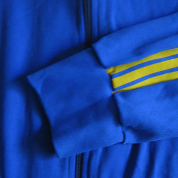 Vintage 80s Adidas Sport Jacket Blue Gold Stripe Zip Front Track Tennis Sport Jacket Large