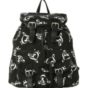Music Clef Heart Slouch Backpack