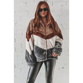 Match My Mood Mocha Furry Jacket