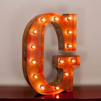"""24"""" Letter G Lighted Vintage Marquee Letters with Screw-on Sockets"""