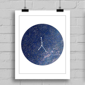 Cancer Constellation Wall Art Print - Zodiac Themes Printable Home Decor Wall Art (JPG/PDF) 8x10
