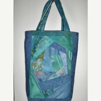 ON SALE Blue Tote Tablet Notebook Diaper Bible Bag Crafts Knitting Crocheting Handmade Batiks Mothers Day Birthday Gift For Her