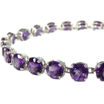 Impressive Amethyst 14k White Gold Bracelet over 16 Carats Contemporary Vintage Italy