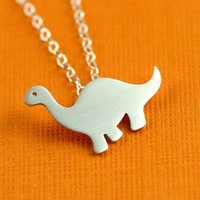 Darling Dinosaur Necklace in Silver